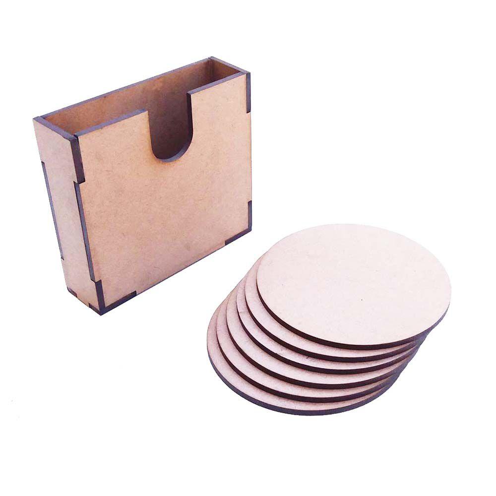 Caixa caixinha mdf 10cm com 6 discos 9cm porta copo