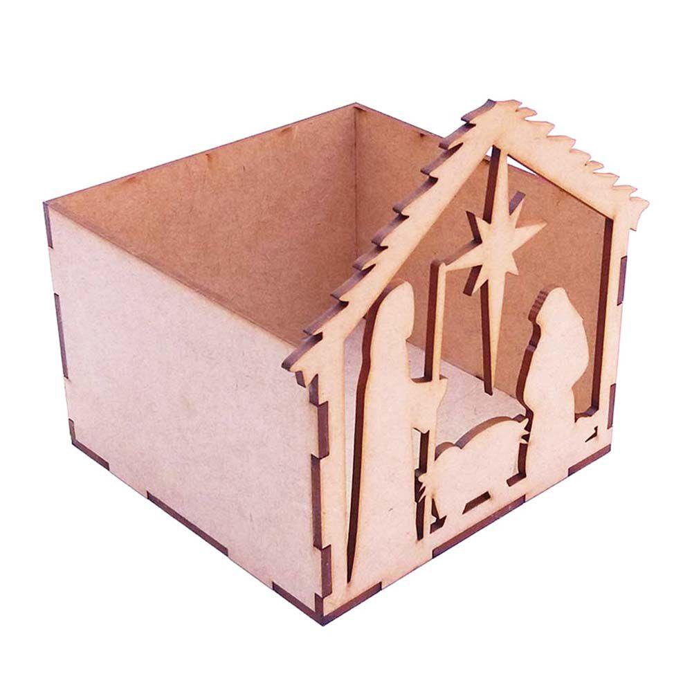 Caixa caixinha mdf  12 x 13 cm presépio Sagrada família