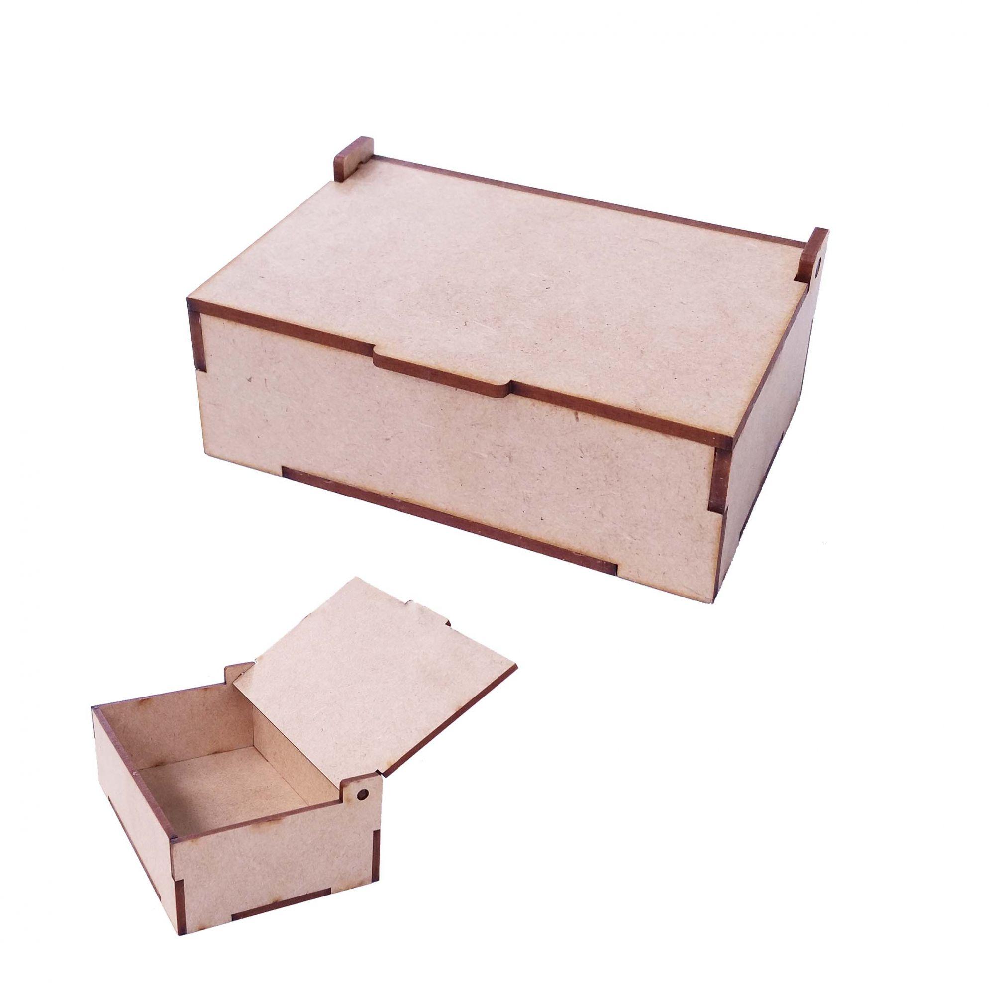 Caixa caixinha mdf 20 x 15 x 10cm baú tampa articulada