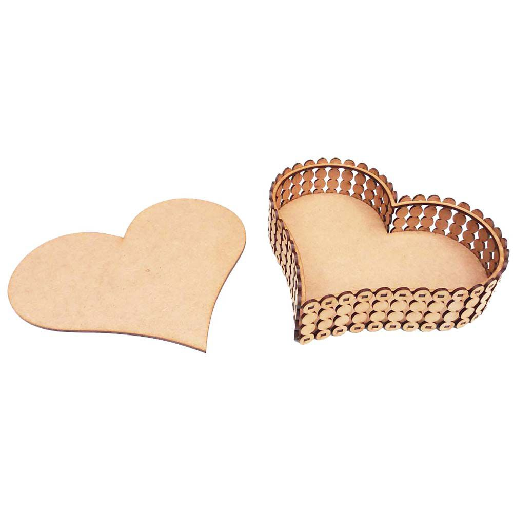 Caixa coração mdf modelo perola 23 x 25 cm com tampa