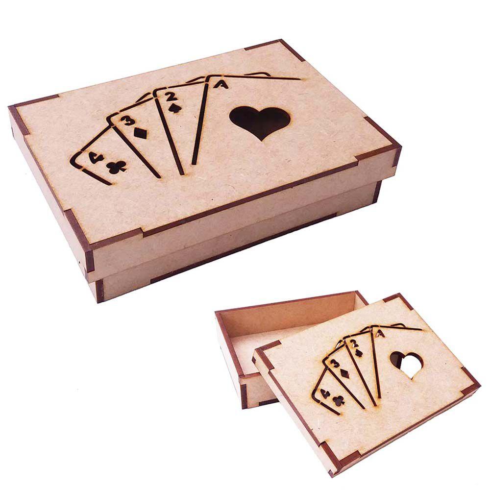 Caixa de baralho mdf vazada mod 1 lugar truco jogo cartas