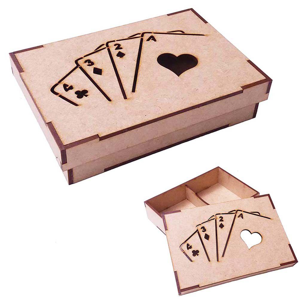 Caixa de baralho mdf vazada mod 2 lugares truco cartas