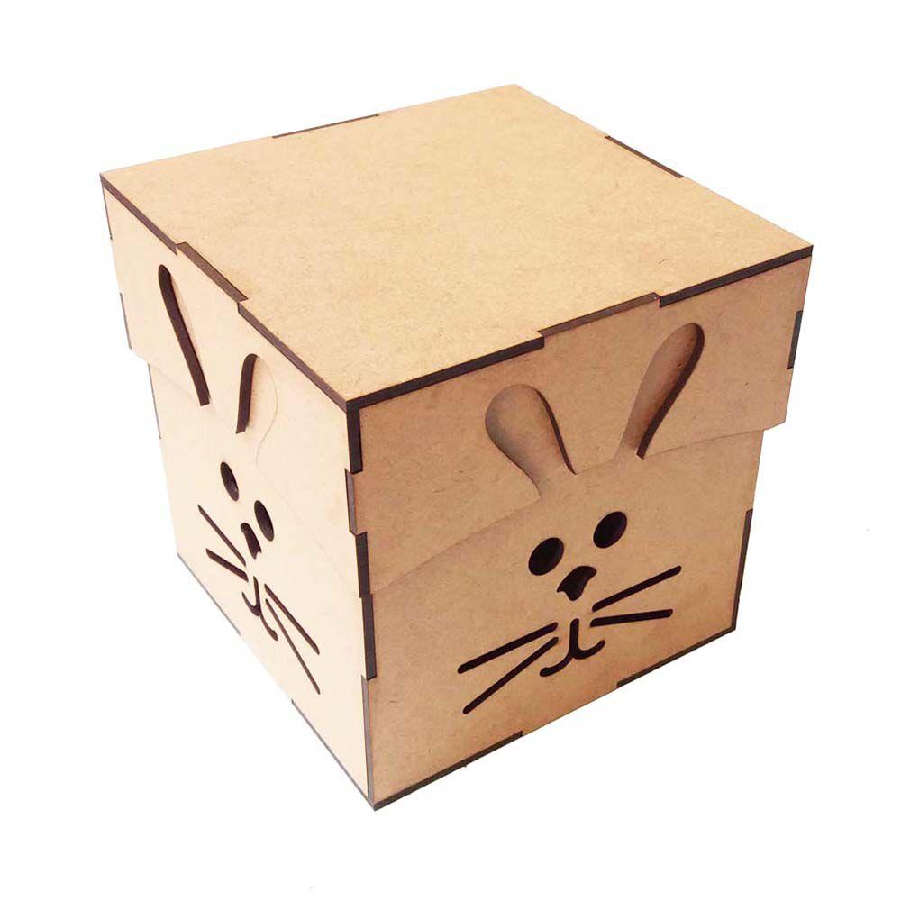 Caixa mdf Coelho de Páscoa 15x15cm caixa ovo chocolate