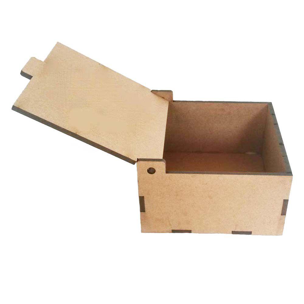 Caixa mdf lisa 15 x 15 x 10 cm tipo baú tampa basculante