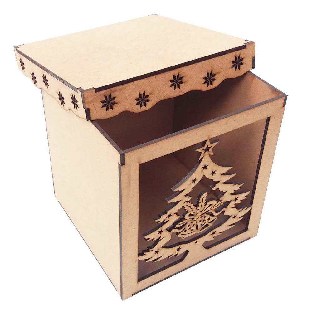 Caixa mdf Natal Panetone 15 x 15 x 16cm arvore de natal