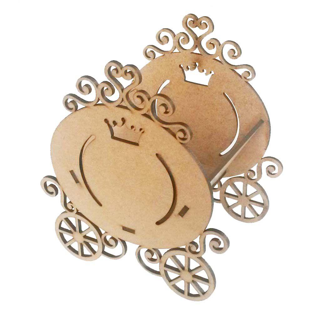 Carruagem 15cm cachepot mdf princesa cinderela coroa