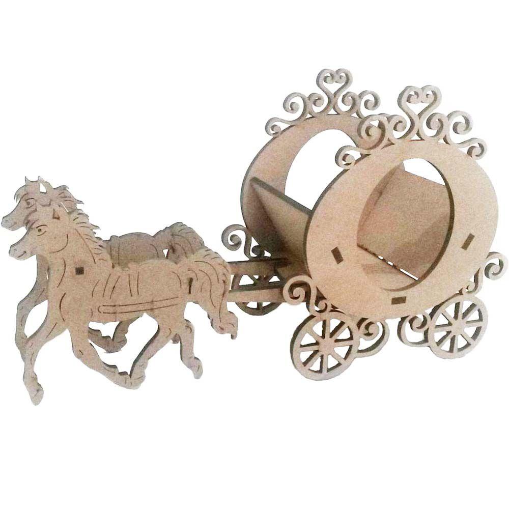 Carruagem mdf cachepot 40cm 3mm com cavalos