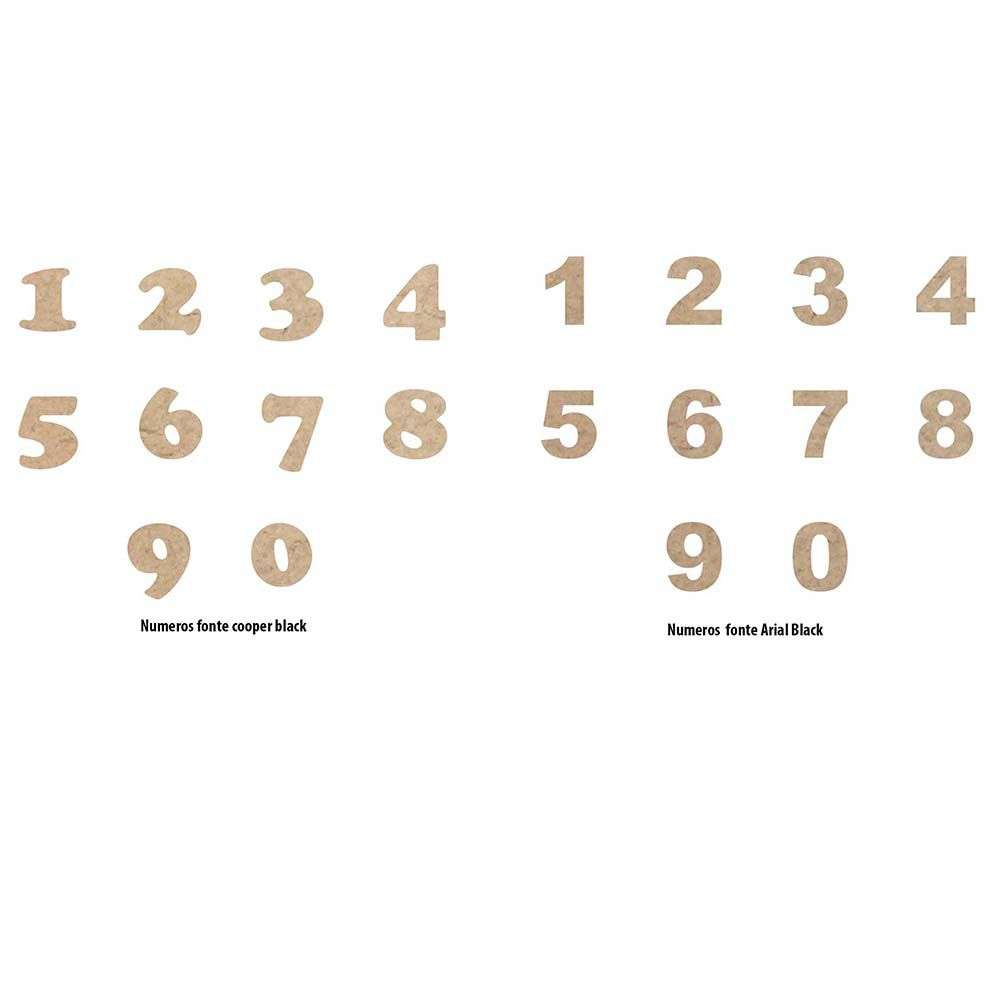 Cartela com 20 número mdf 3 cm aplique escolha número e fonte