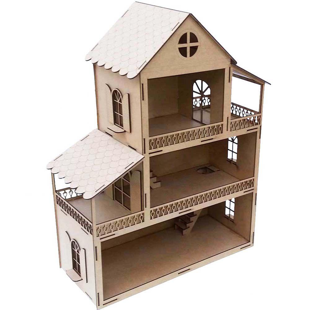 Casa casinha de Boneca maior 75 cm mdf mod 2 Presente menina