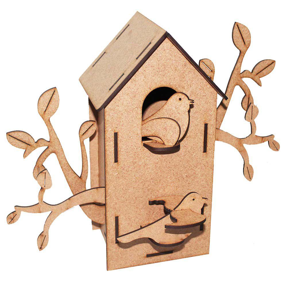 Casa casinha de passarinho mdf 24cm  galhos pássaros