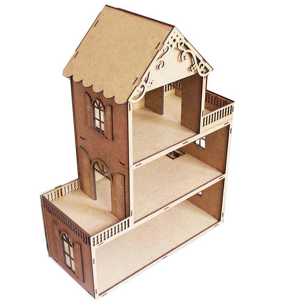 Casa de Boneca 62cm mdf cru modelo Pollyana 3 Andares
