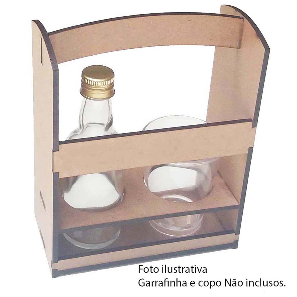 Cestinha porta garrafinha e copo de cachaça bar boteco