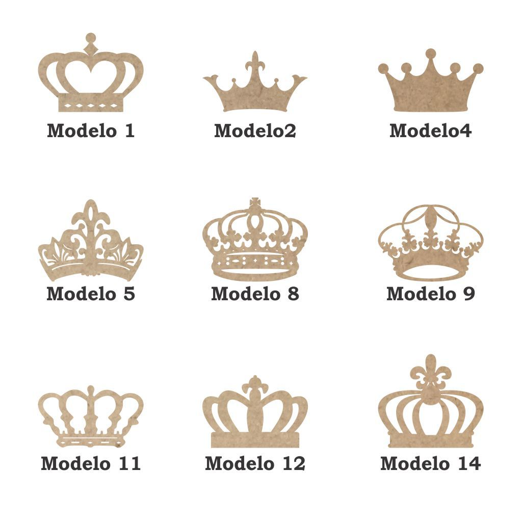 Kit 10 Coroa mdf 5cm 9 modelos a escolha aplique artesanato