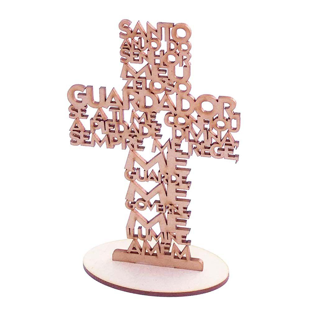 Cruz crucifixo 16cm mdf oração santo anjo arte batizado