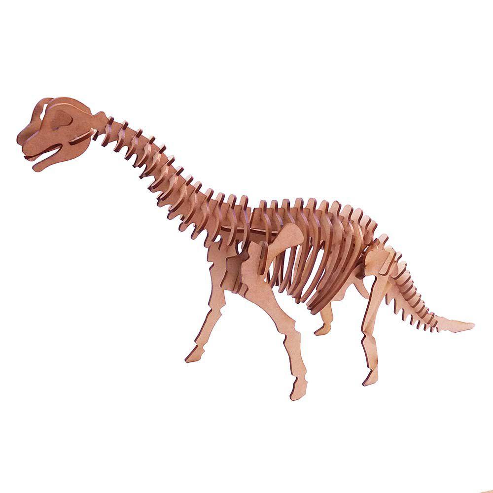 Dinossauro Braquiossauro Quebra Cabeça 3D coleção dino mdf