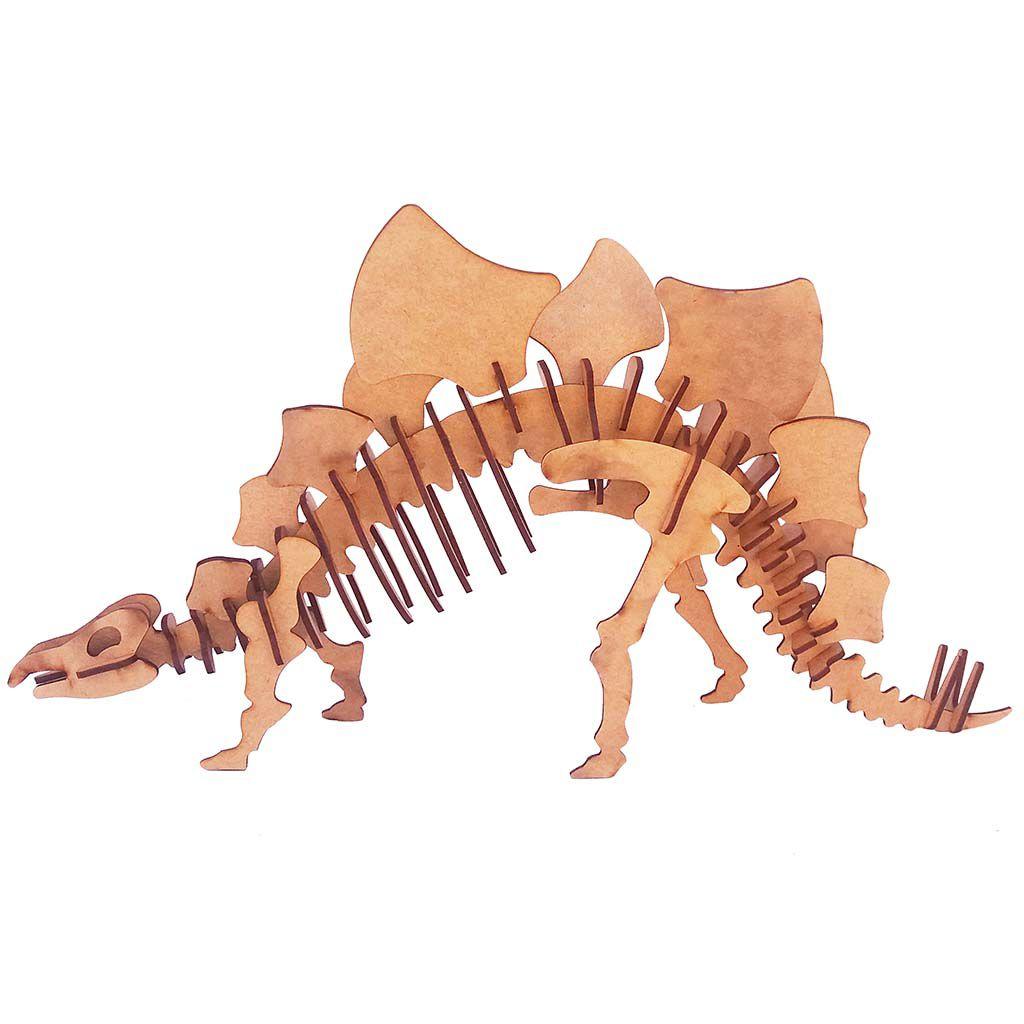 Dinossauro Estegossauro Quebra Cabeça 3D coleção dino mdf