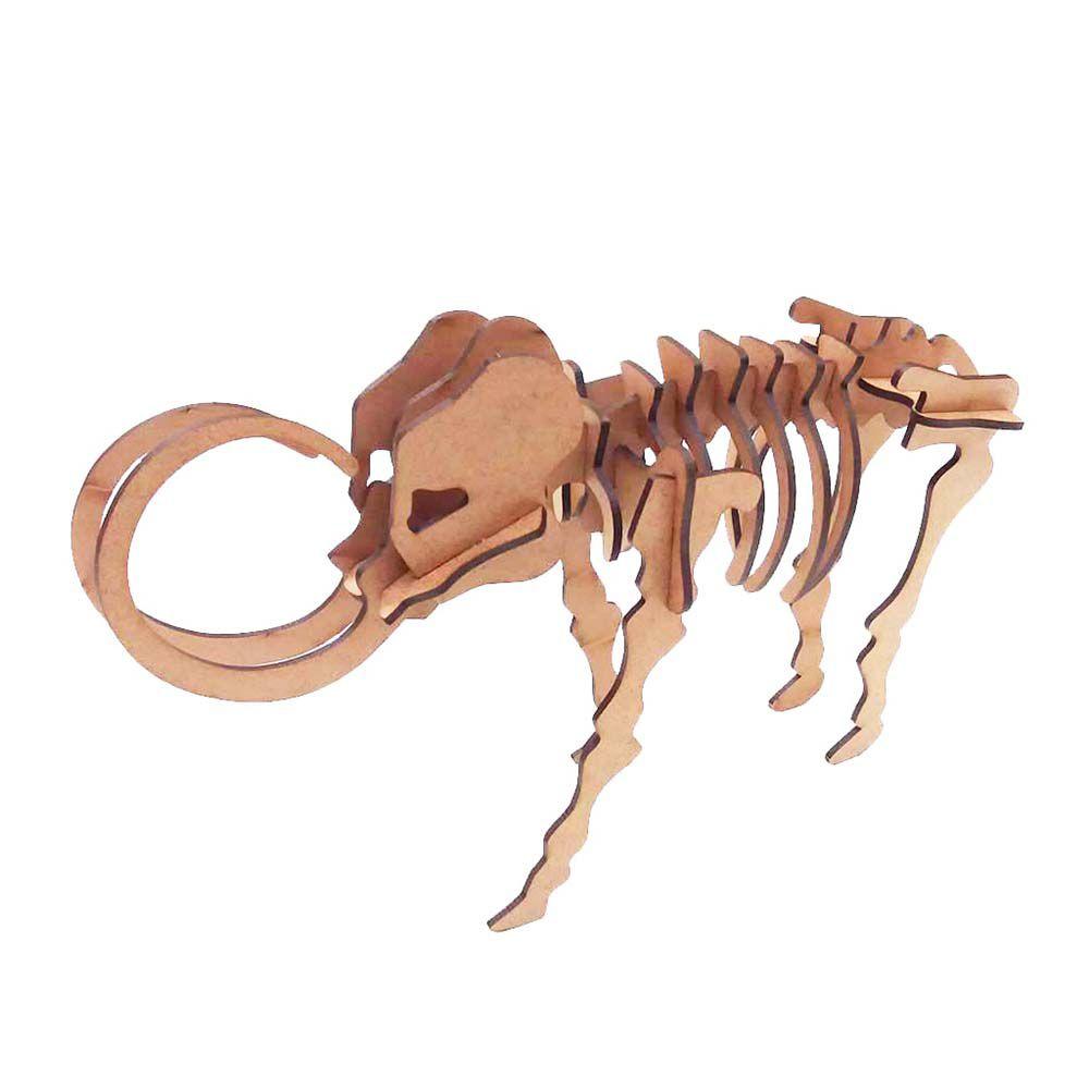 Dinossauro Mamute Quebra Cabeça 3D coleção dino mdf