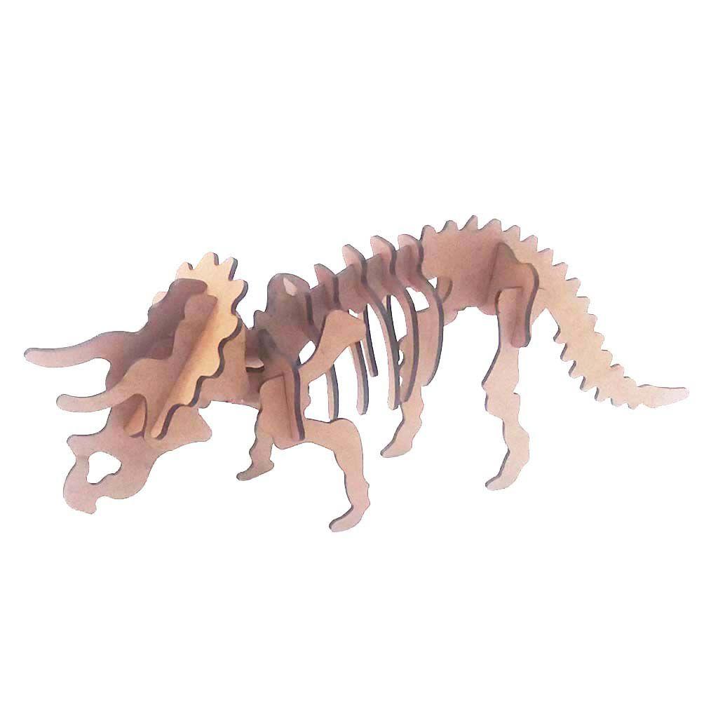 Dinossauro Triceratops coleção Quebra Cabeça 3D dino mdf