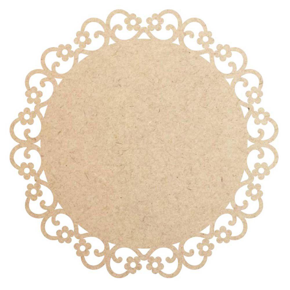 Disco 15 cm floral mdf cru mini mandala placa artesanato