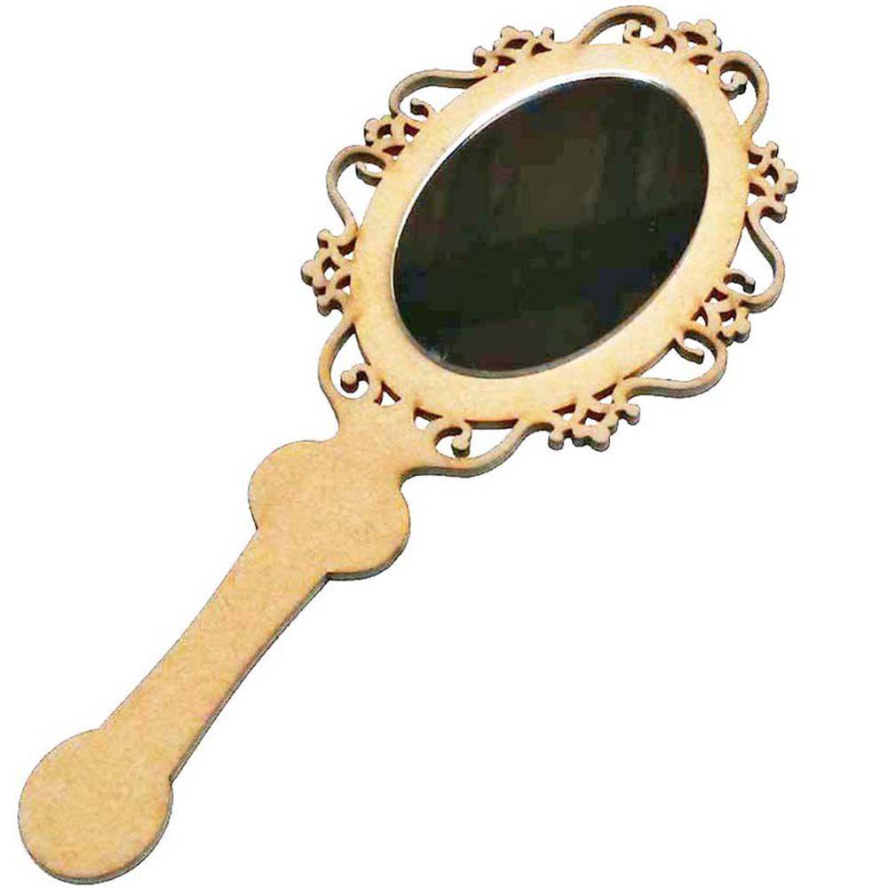 Espelho de Mão mdf 25cm Princesa Arabesco com refletivo