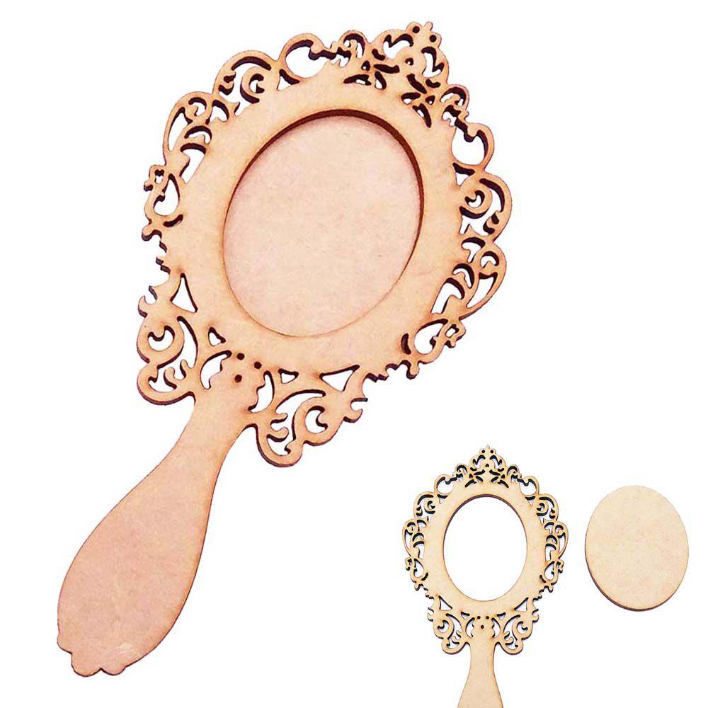 Espelho de Mão mdf provençal 15cm vazado com fundo