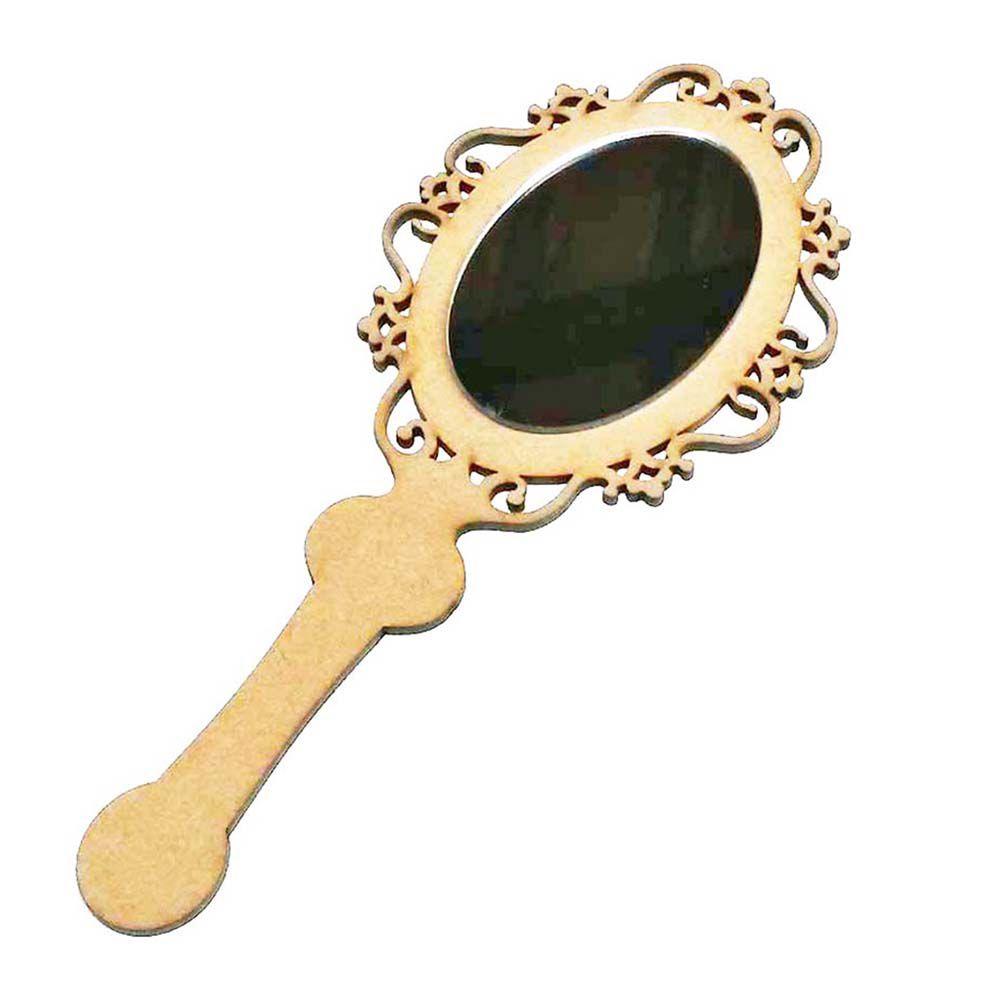 Espelho de Mão Princesa Arabesco 19cm mdf e refletivo