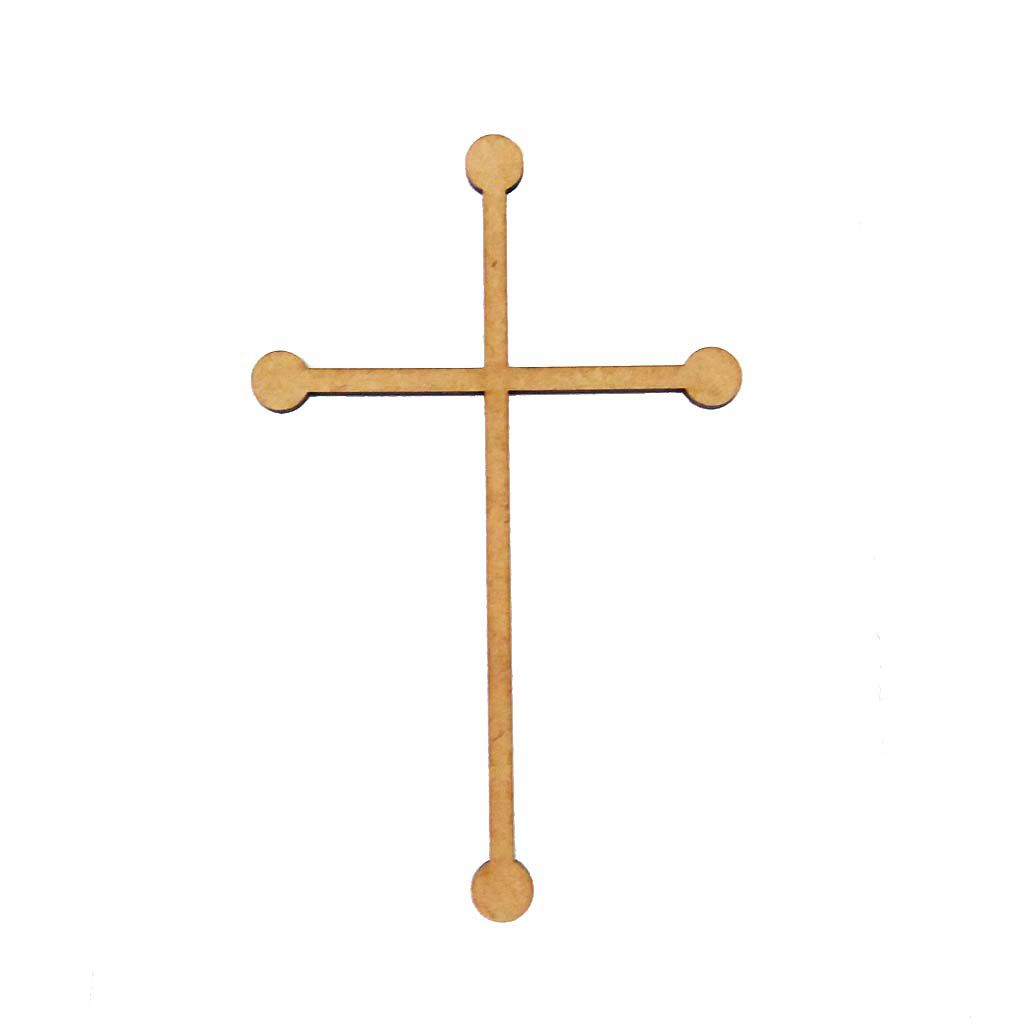 Kit 100 Aplique religioso Crucifixo mdf mod 4 tamanho 8 cm