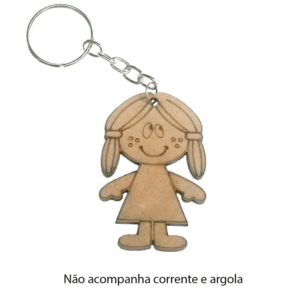kit 100 recorte Chaveiro menina boneca mdf