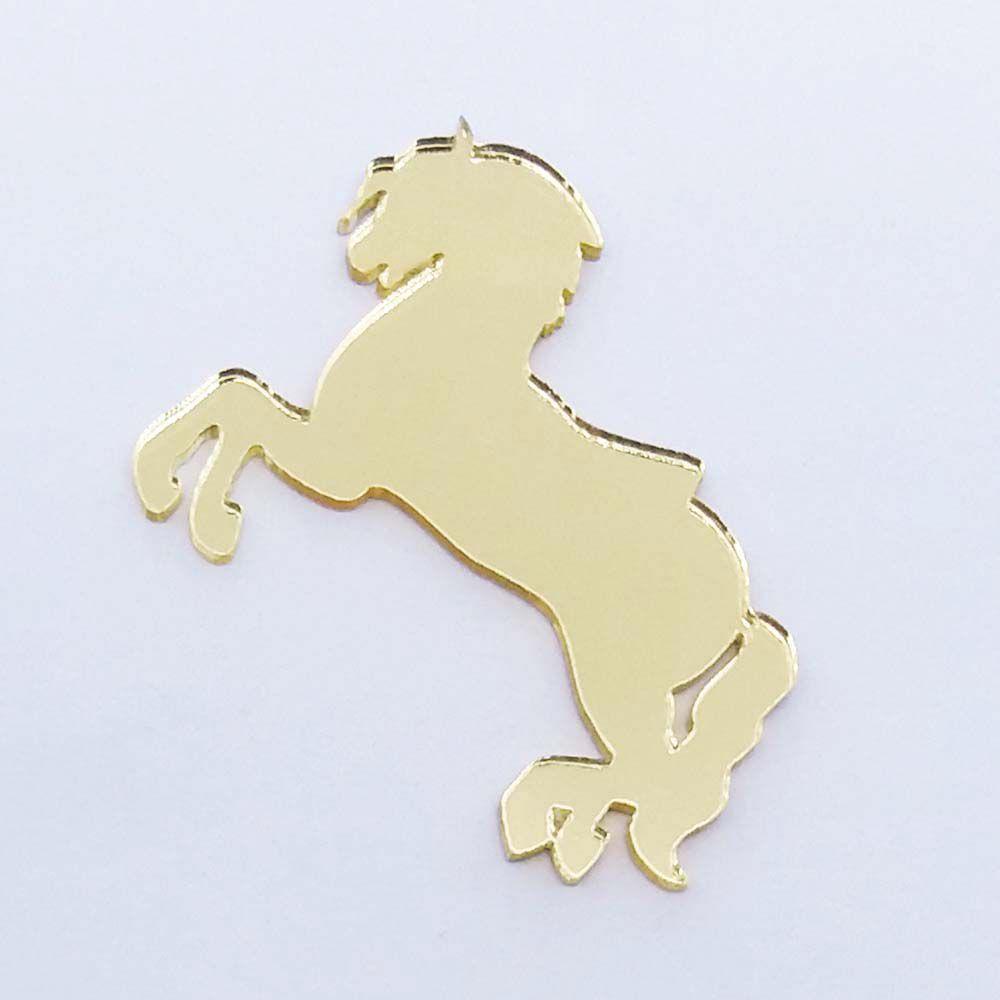 Kit 10 Aplique cavalinho Acrílico espelhado dourado ou prata  AP004