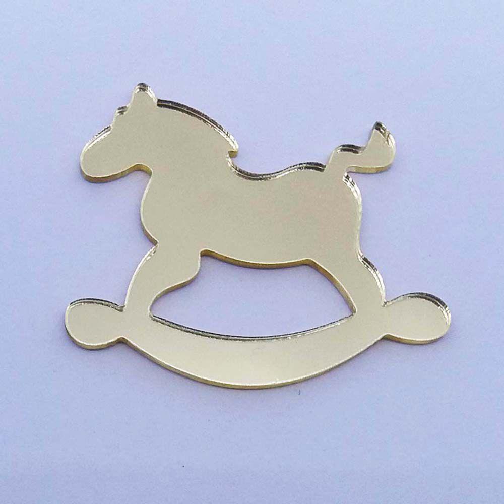 Kit 10 Aplique cavalinho balanço Acrílico espelhado dourado ou prata AP006