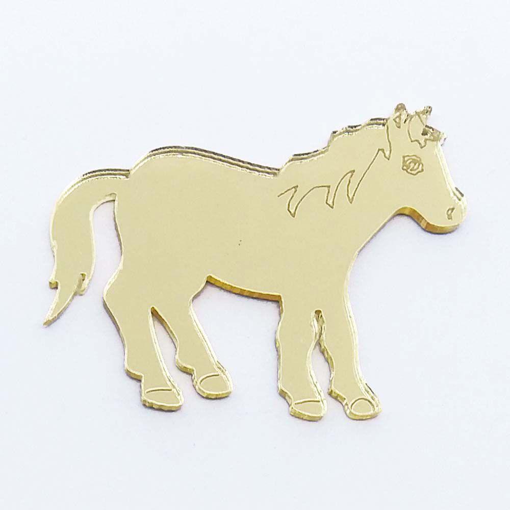 Kit 10 Aplique cavalinho cavalo pônei Acrilico espelhado AP193