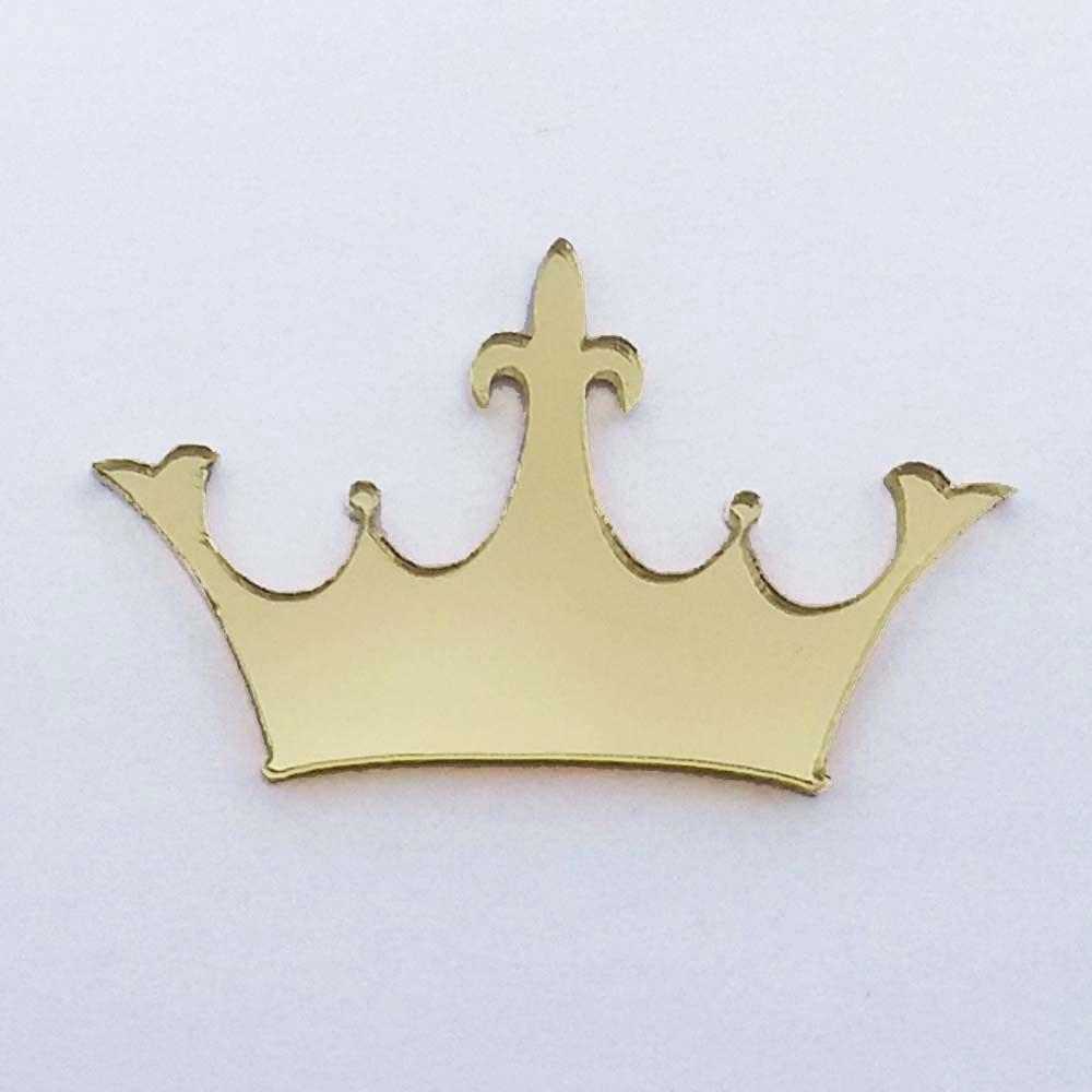 Kit 10 Aplique coroa Acrilico espelhado prata ou dourado AP019