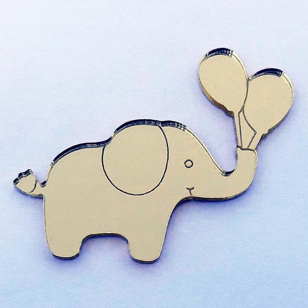 Kit 10 Aplique elefante com balão Acrílico espelhado AP268