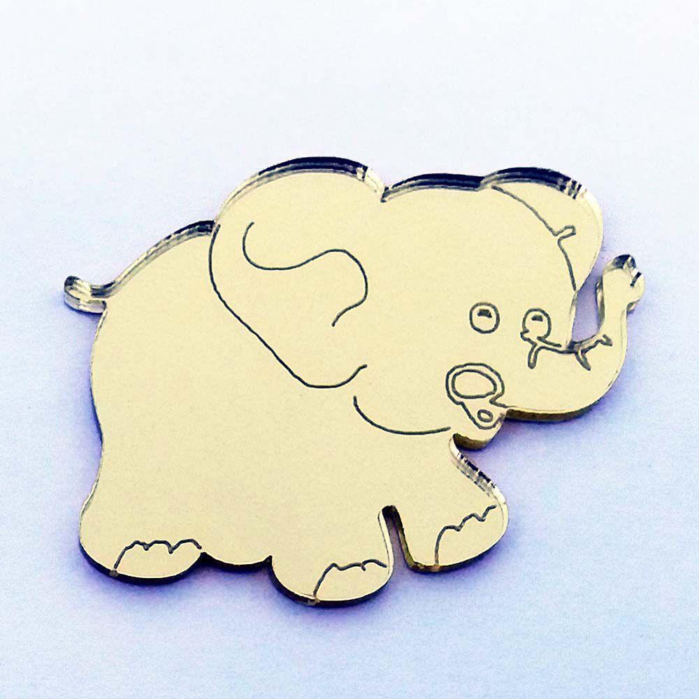 Kit 10  Aplique elefante safári selva Acrílico espelhado AP197