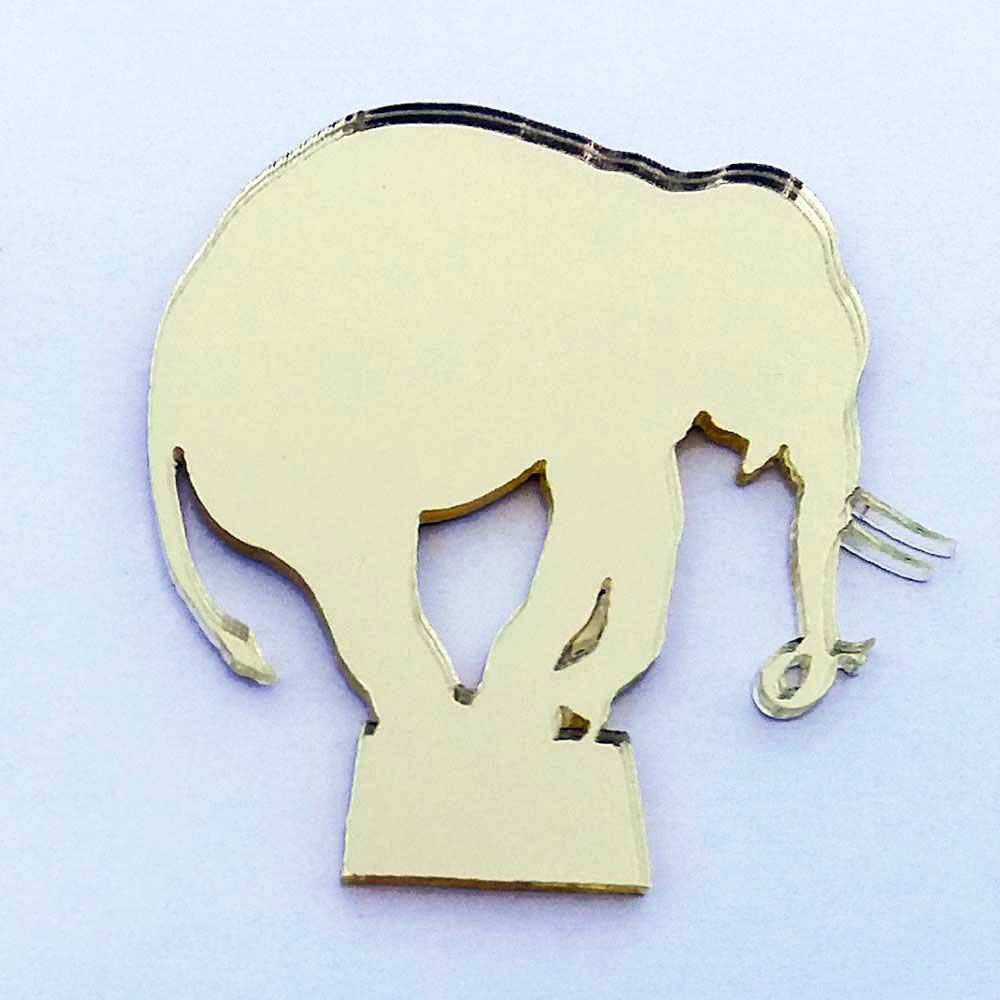 Kit 10 Aplique elefante tambor circo Acrilico espelhado AP180