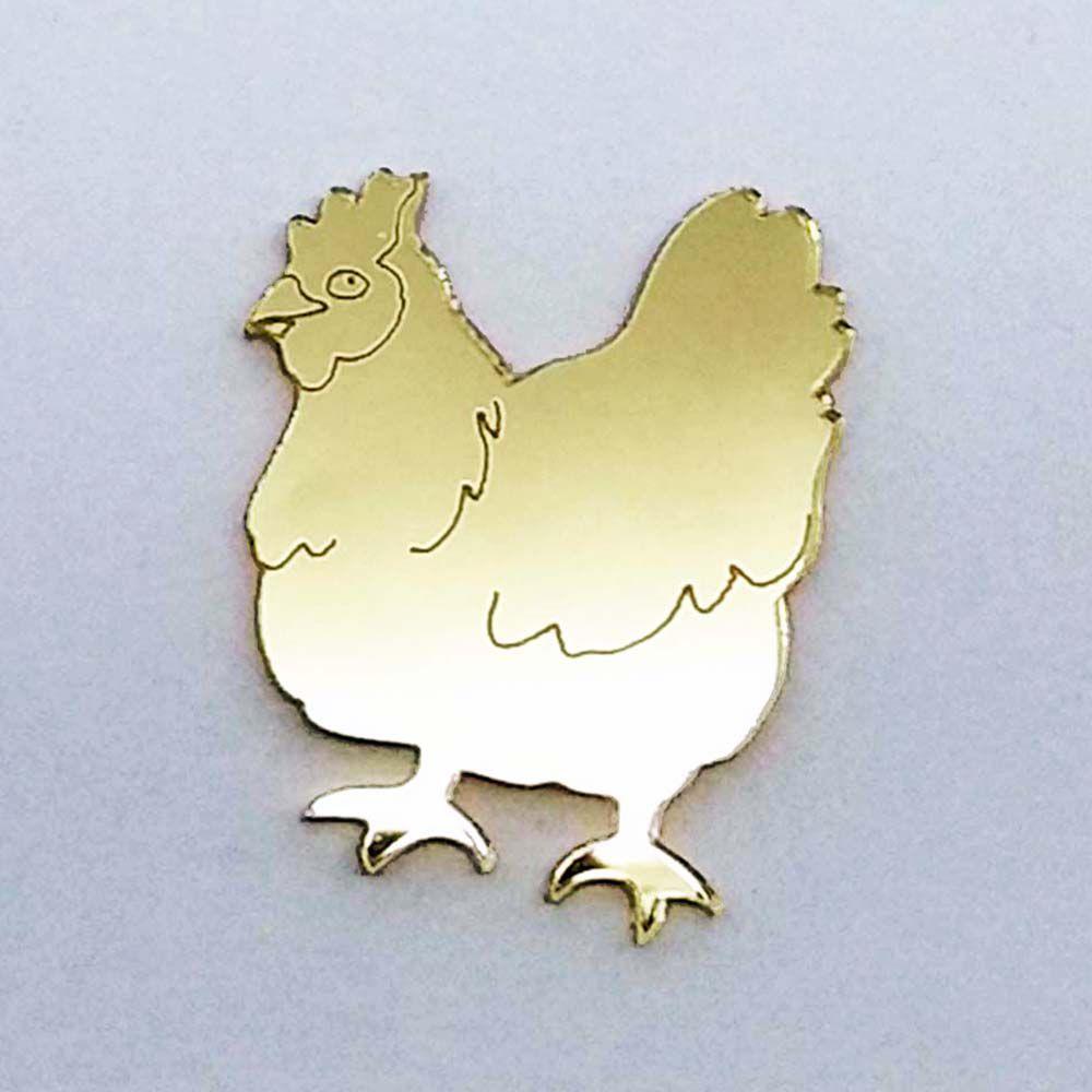 Kit 10 Aplique galinha fazendinha Acrilico espelhado AP195