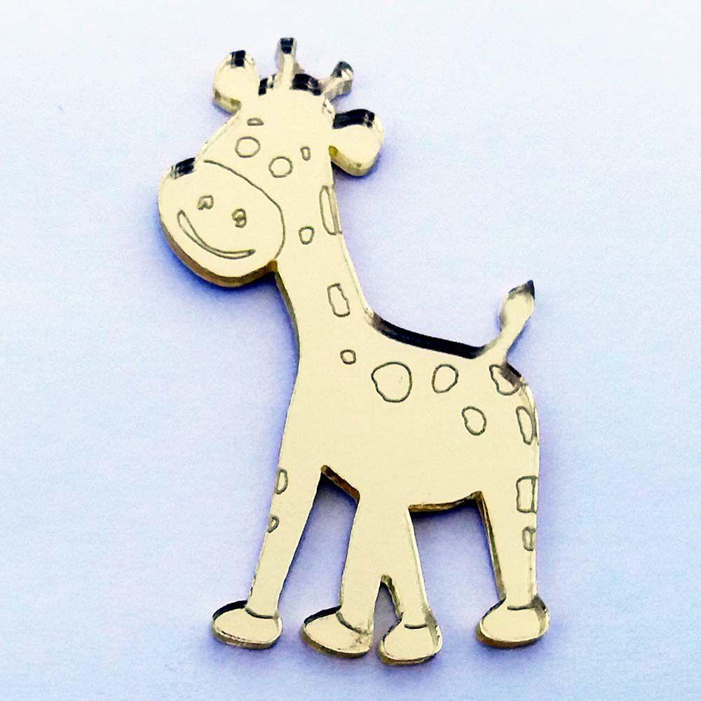 Kit 10 Aplique girafa safári selva Acrílico espelhado AP198