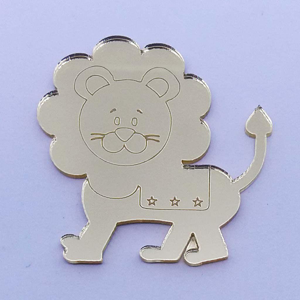Kit 10 Aplique leão leãozinho circo Acrilico espelhado AP212