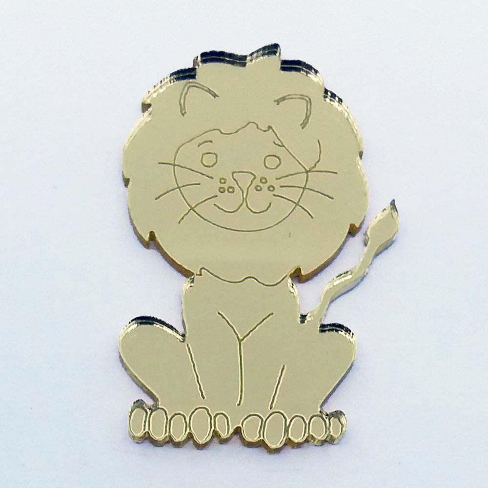 Kit 10 Aplique leão leãozinho safari circo Acrilico espelhado AP196