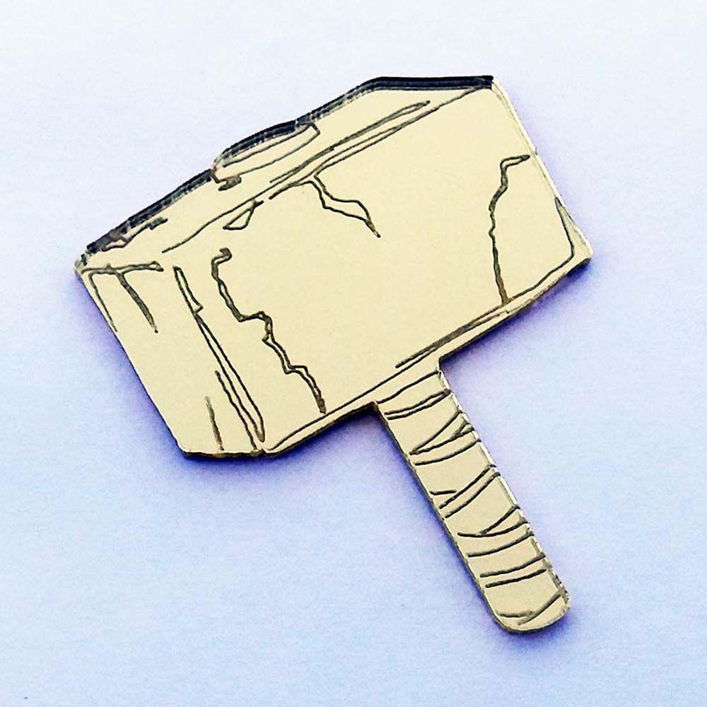 Kit 10 Aplique martelo Thor heróis Acrilico espelhado AP151