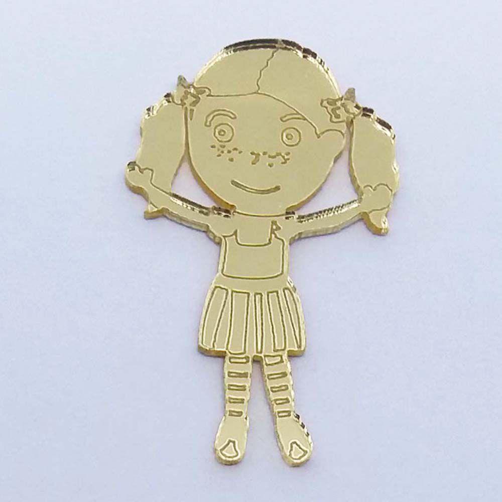 Kit 10 Aplique menina boneca chiquinha Acrilico espelhado AP344