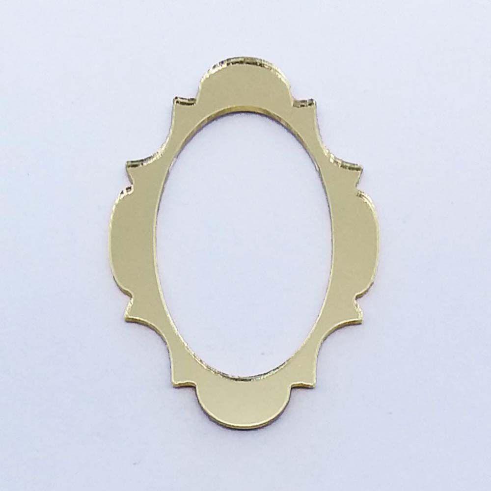 Kit 10 Aplique moldura oval Acrilico espelhado AP029