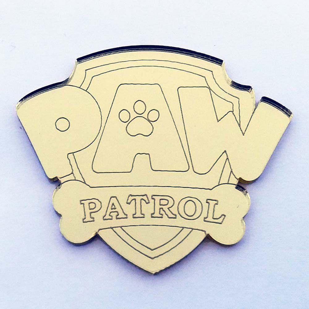 Kit 10 Aplique patrulha canina Acrilico espelhado AP169