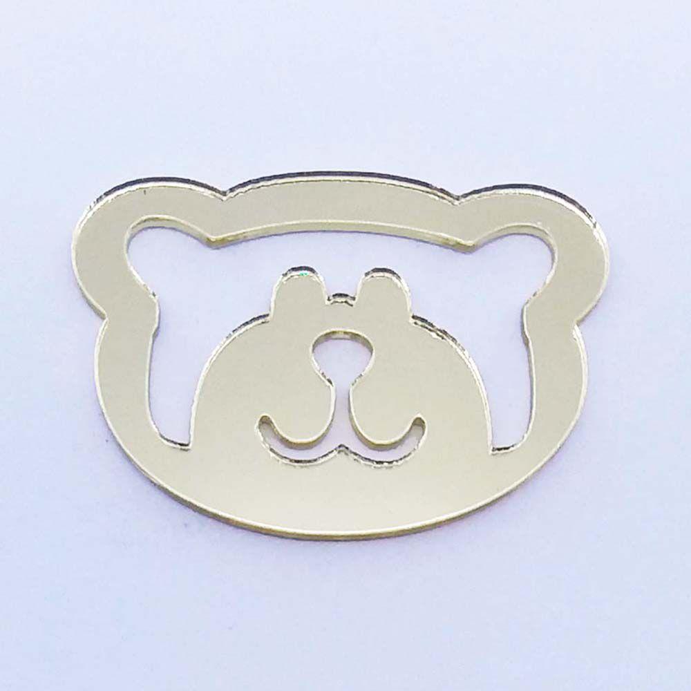 Kit 10 Aplique rosto urso ursinho vazado Acrilico espelhado AP065
