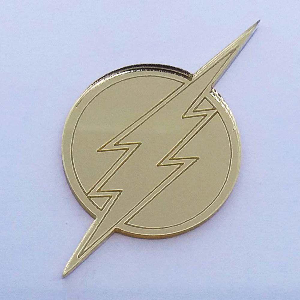 Kit 10 Aplique simbolo flash heróis Acrilico espelhado AP282