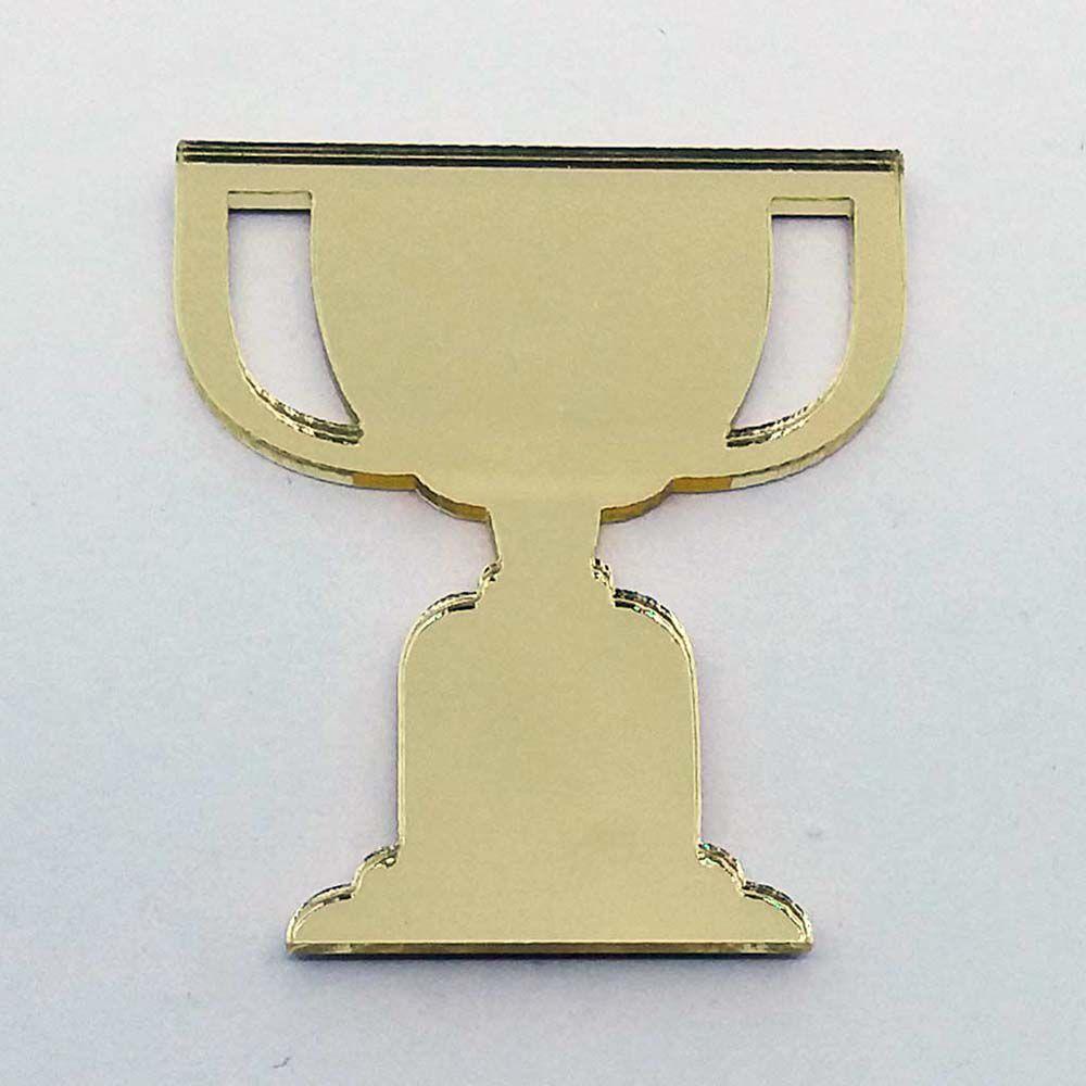 Kit 10 Aplique taça troféu futebol Acrílico espelhado AP306