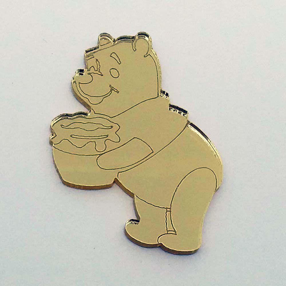 Kit 10 Aplique ursinho pooh puff Acrilico espelhado AP275