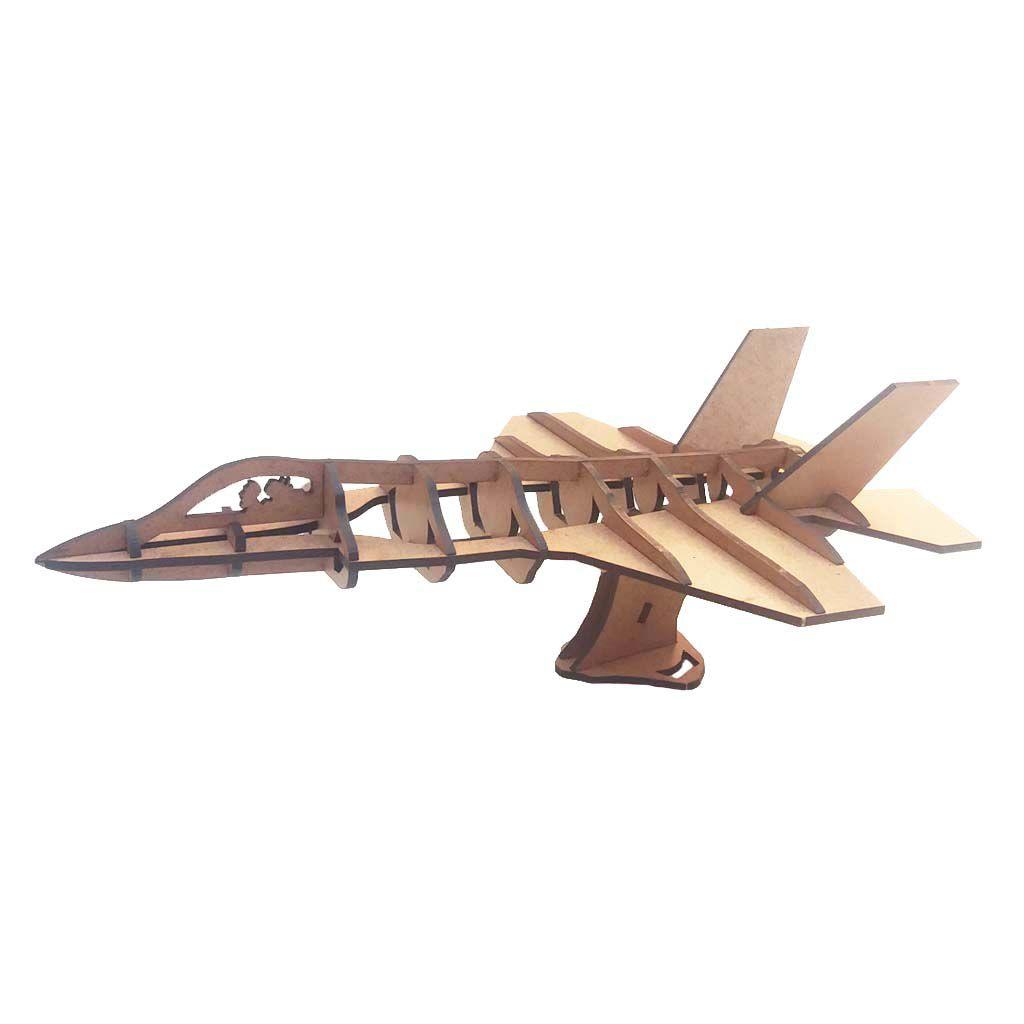 Kit 10 Avião Caça F-35 Quebra Cabeça 3D mdf