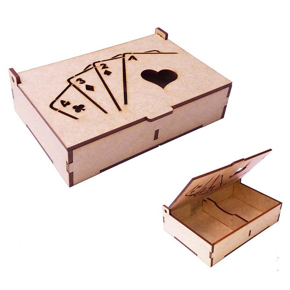 Kit 10 Caixa de baralho tampa vazada modelo 2 lugares