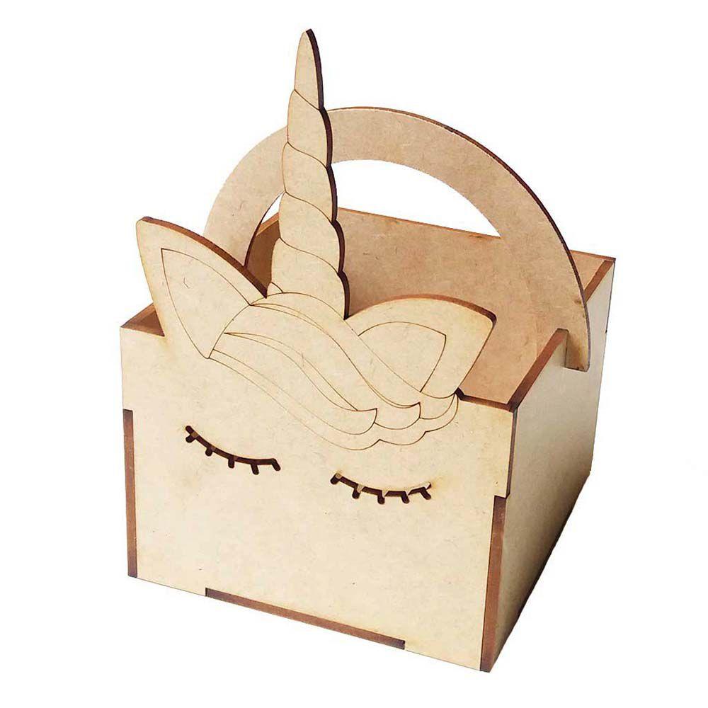 Kit 10 Caixa mdf cestinha unicórnio 11x16cm arte e festa